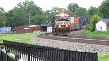 NS Trains Side by Side in Fostoria Ohio!