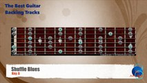 Shuffle Blues in A Guitar Backing Track with scale map