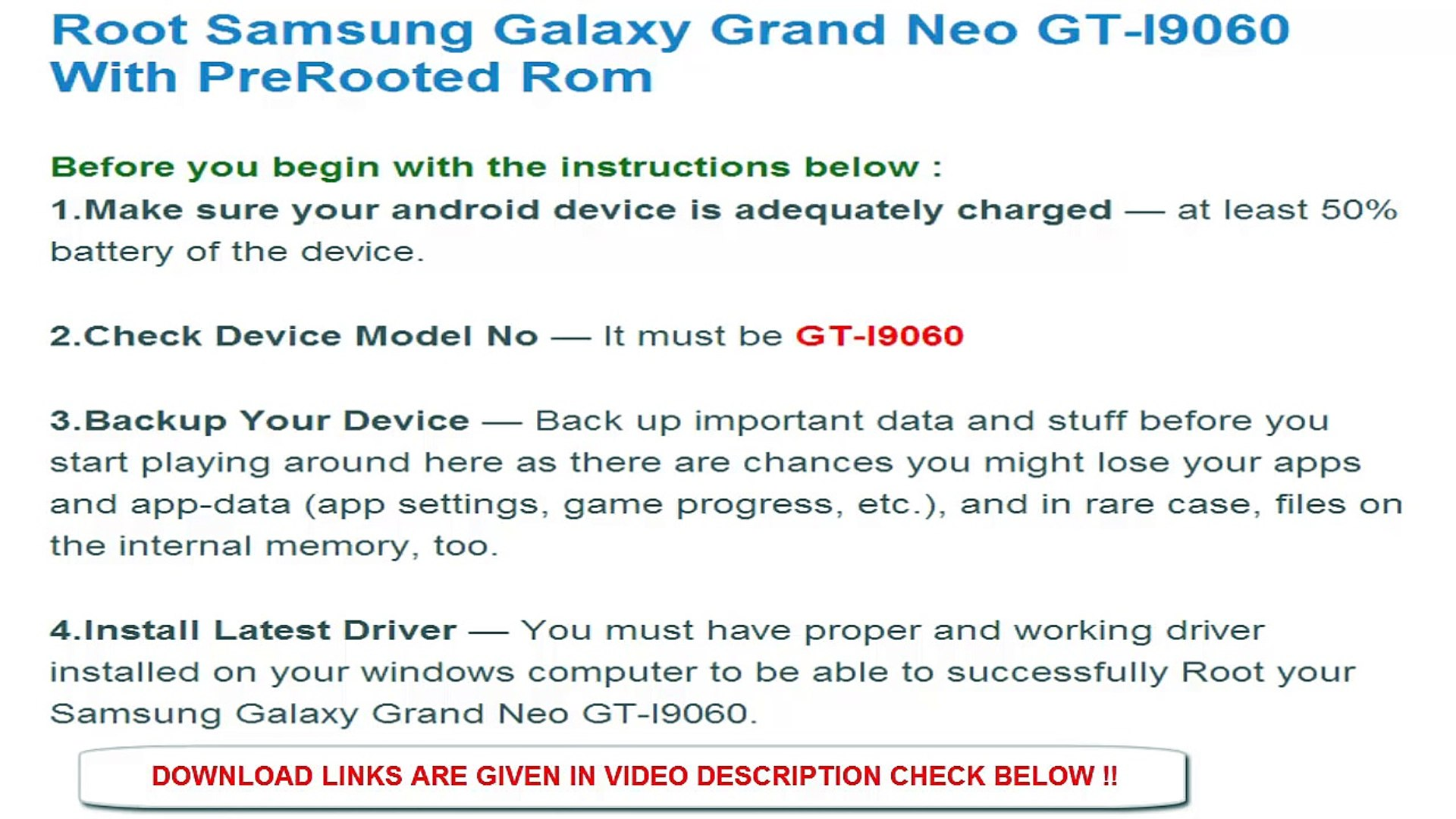 How To Root Samsung Galaxy Grand Neo GT I9060