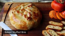 Baked Stuffed Brie Brie en Croute stuffed with Cranberries & Walnuts