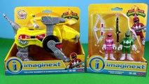 Mighty Morphin POWER RANGERS Imaginext Yellow Pink Green Rangers Sabertooth Zord