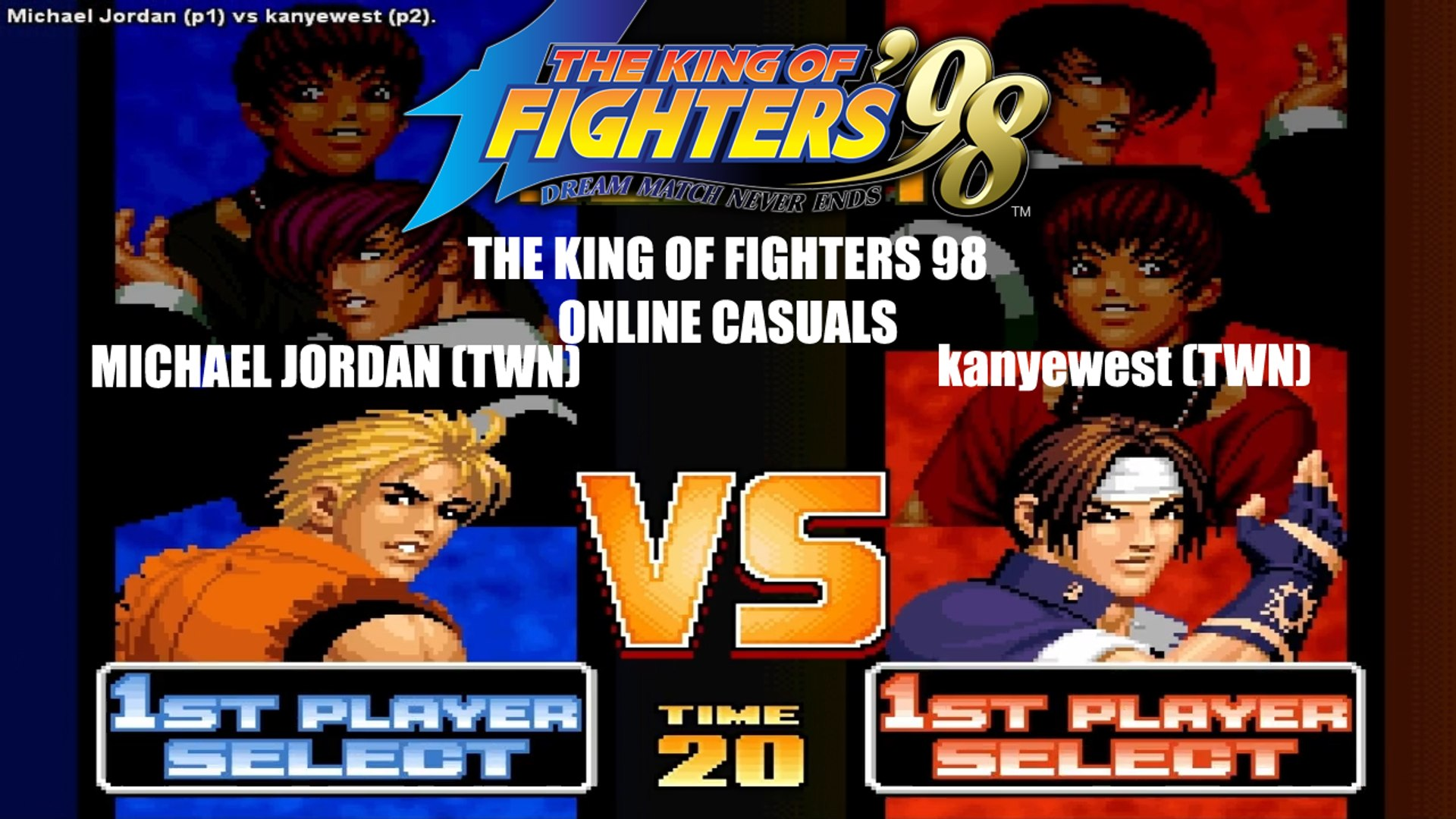 chaussures de séparation 0bbbf d443d [HD] - Fightcade - KOF 98 Online match - Michael Jordan (Taiwan) vs.  kanyewest (Taiwan)