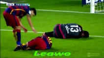 """@27"""" Messi and Adan collided - Adan punches the ball and Messi goes to ground in a heap - Repost"""