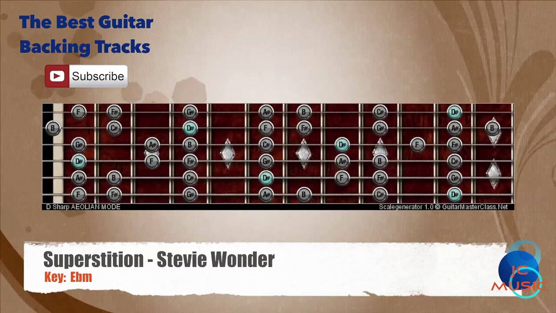 Superstition - Stevie Wonder Guitar Backing Track with scale chart