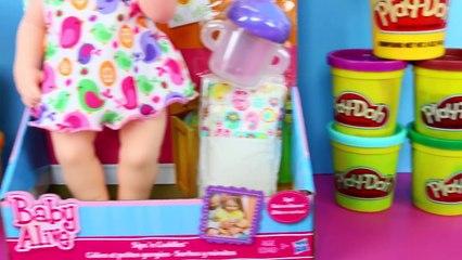 Baby Alive Sips n Cuddles Newborn Baby Doll Gets Play Doh Hair & Sticker Bottle DisneyCar