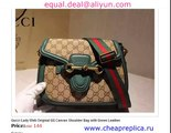 Gucci Lady Web Original GG Canvas Shoulder Bag with Green Leather for Sale