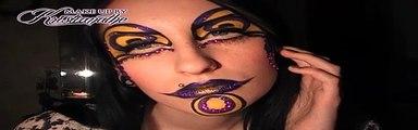 Cirque du Soleil jester clown make-up tutorial _ Purple and yellow glitter makeup