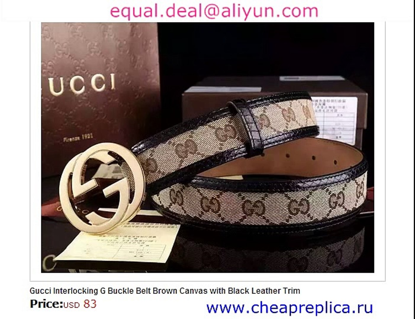 c998adff6 Gucci Interlocking G Buckle Belt Brown Canvas with Black Leather Trim  Replica for Sale - video dailymotion