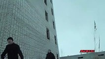Jump from 4th floor back flip into snow - crazy extreme stunt