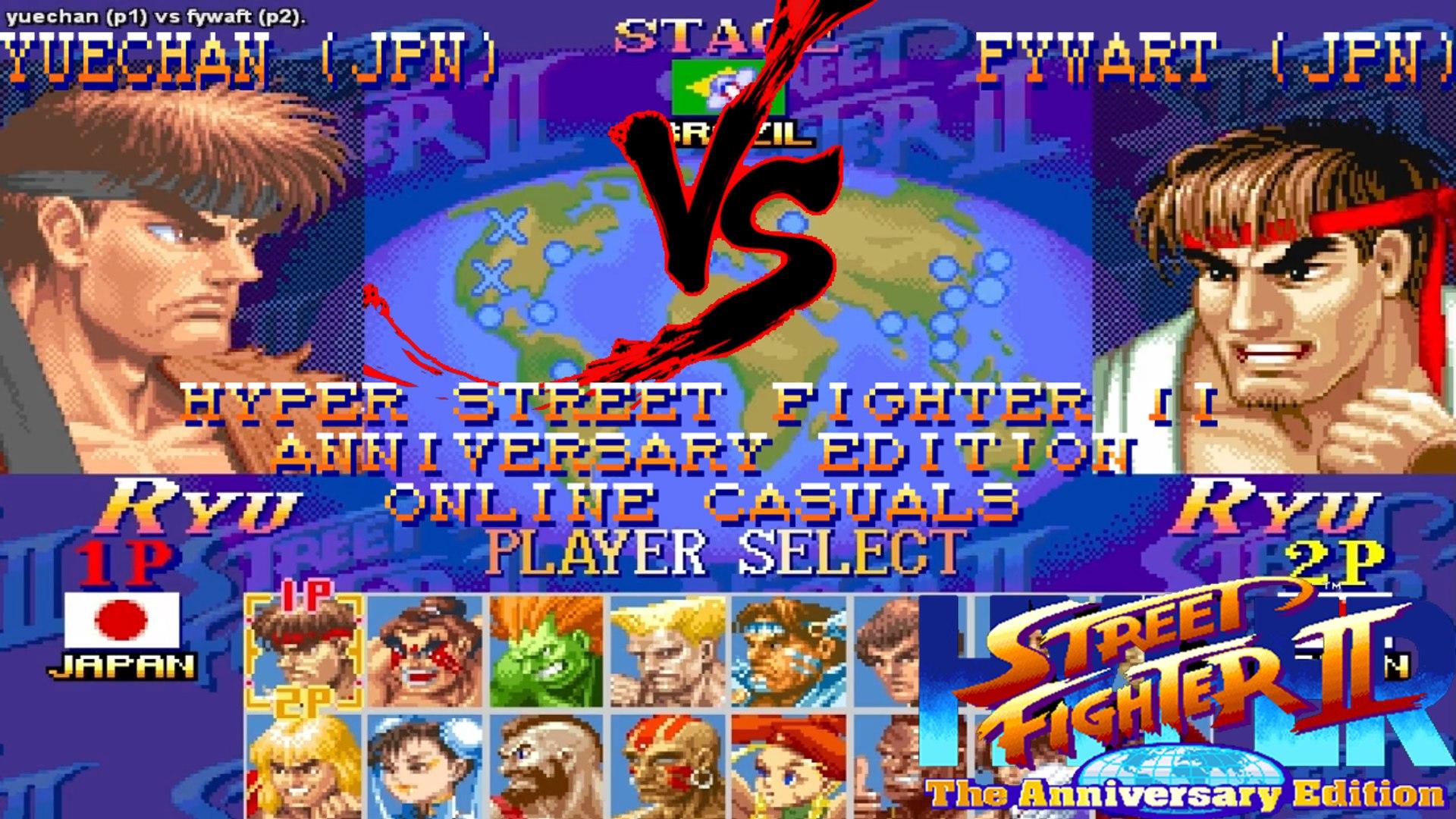 [Fightcade HD] - Hyper Street Fighter II Online Casuals -Yuechan (JPN) Vs   Fywaft (JPN)