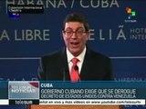 Cuba exige derogación del decreto de EE.UU. contra Venezuela