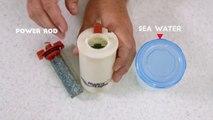 Esta batería externa te carga el móvil con agua salada