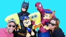 REAL LIFE TIC TAC TOE using PAW PATROL + SPONGEBOB * Spiderman Batman Superheroes IRL video