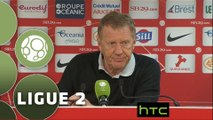 Conférence de presse Stade Brestois 29 - Dijon FCO (0-0) : Alex  DUPONT (BREST) - Olivier DALL'OGLIO (DFCO) - 2015/2016