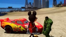 Spiderman Car For Kids - The Green Grass Grows all Around -  Fun Incredible Hulk & Mickey Mouse