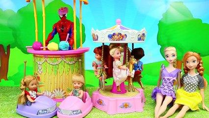 Frozen Kids Go To Barbie Amusement Park & Elsas Son Alex Crashes Bumper Cars DisneyCarToy