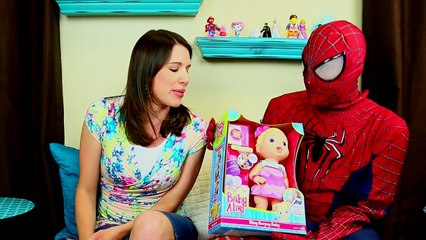 BABY ALIVE Vomit & Barf Doll Review of Bitsy Burpsy Baby & Pee Diaper with Spiderman & Dis
