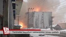 Teröristler kaçarken saklandıkları binayı patlattı