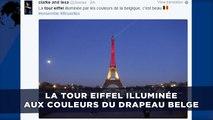 La Tour Eiffel illuminée aux couleurs du drapeau belge