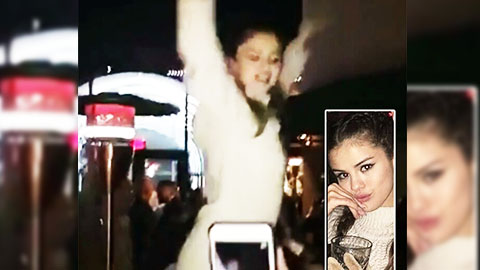 Selena Gomez Dances On Bar Top To Rihanna's Work. http://bit.ly/2BuUAGT