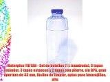 Waterplus TRITAN - Set de botellas (1 L (cuadrada) 3 tapas estándar 3 tapas estancas y 2 tapas