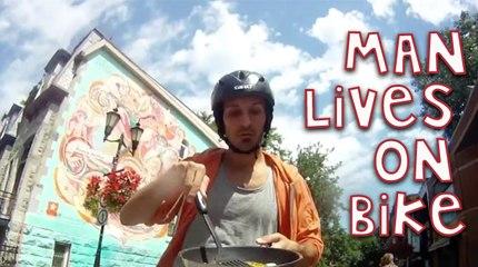 Man Lives, Eats And Even Sleeps On His Bike