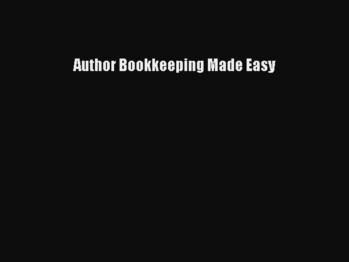 Download Author Bookkeeping Made Easy  Read Online