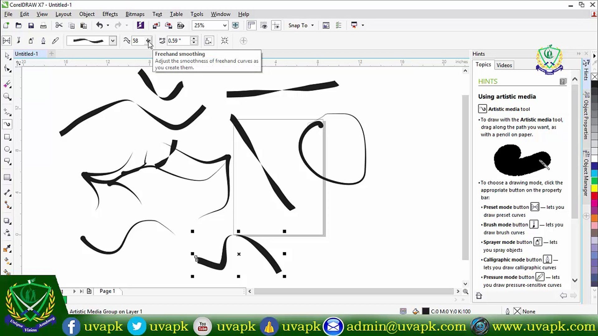 Lecture 6 How To Use Artistic Media Tool In Corel Draw X7 In Hindi Urdu Video Dailymotion