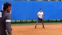 Irmãos Rogério e Daniel Dutra Silva aquecem antes da estreia no IS Open