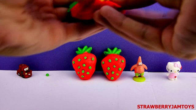 Shopkins Play Doh Strawberry Spongebob Cars 2 Kinder Surprise Fruit Surprise Eggs StrawberryJamToys