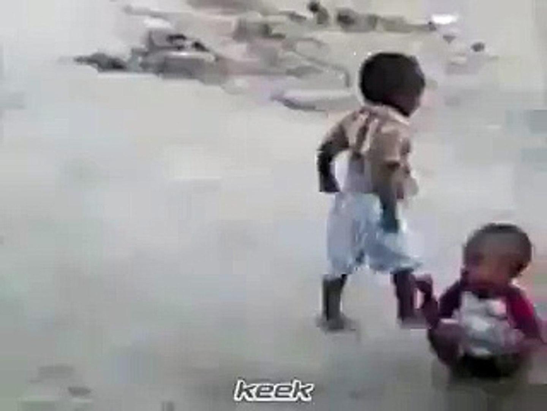 Funny Kid Play Foot Ball