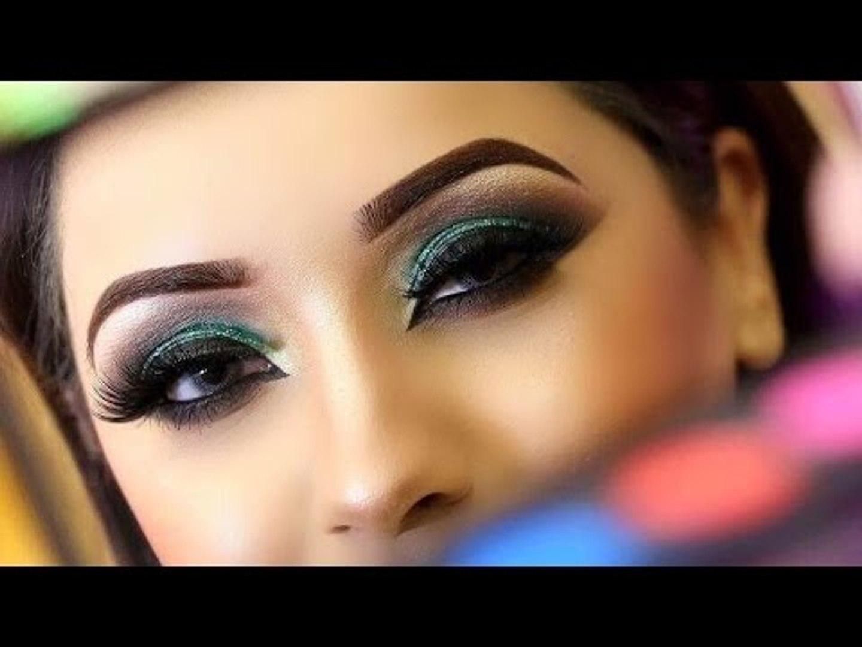 Asian Bridal Makeup | Mehndi Makeup And Hairstyling 2016 _ Green Smokey Eyes
