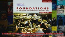Activity Guide for Foundations of Restaurant Management and Culinary Arts Level 1