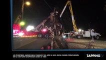 L'incroyable sauvetage d'une femme, coincée dans sa voiture suspendue aux fils électriques (vidéo)