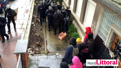 Evacuation d'un squat à Calais le 27 mars 2016