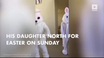 Kanye West as an Easter bunny  – and North couldn't get enough