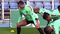 Cristiano Ronaldo was in a funny mood in Portugal training ft Rihanna's Work