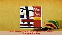 Download  Well Said Intro Pronunciation for Clear Communication PDF Full Ebook