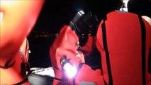 Redningsselskapet - RSRK Kristiansand - 3 aspiranter trener bruk av overlevelsesdrakt