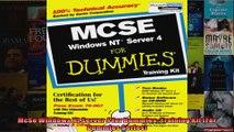 McSe Windows Nt Server 4 for Dummies Training Kit For Dummies Series