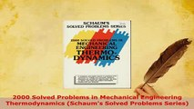 Download  2000 Solved Problems in Mechanical Engineering Thermodynamics Schaums Solved Problems Read Full Ebook