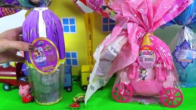 Vovô da Peppa Pig Trouxe Ovos de Páscoa Frozen Princesas Disney e Sofia Toys KInder Surp