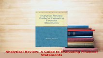 PDF  Analytical Review A Guide to Evaluating Financial Statements Ebook