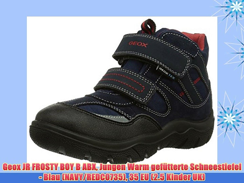 Geox JR FROSTY BOY B ABX Jungen Warm gef?tterte Schneestiefel - Blau (NAVY/REDC0735) 35 EU