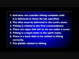 TITHING AND PROTECTION IN SCRIPTURE ARE INSEPARABLE     (Tithing) Part 1/5