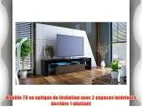 Meuble TV bas armoire basse Lima en Noir mat / Chocolat en haute brillance