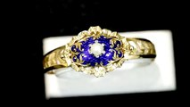 Pearl, Diamond and Blue Enamel, Yellow Gold Bangle - Antique Victorian -AC Silver W8999