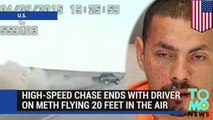 High-speed chase ends with driver on meth crashing and flying 20 feet in the air - TomoNews