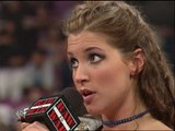 Stephanie McMahon Triple H Kurt Angle and Mick Foley segment