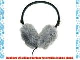 KitSound  Cache Oreilles Audio en Fausse Fourrure Compatible avec Smartphones Tablettes et